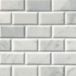 Arabescato Carrara 2X4 Polished Bevel Mosaic