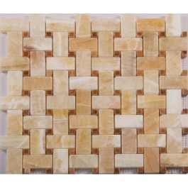 Pineapple Onyx 12x12 Polished Basketweave Mosaic