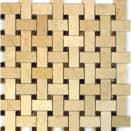 Crema Marfil With Emperador Dot 12x12 Basketweave Polished