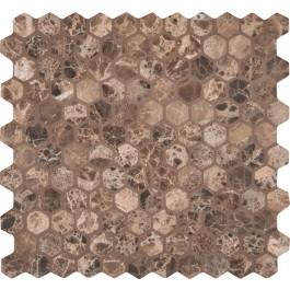 Emperador Dark hexagon 12X12 Tumbled