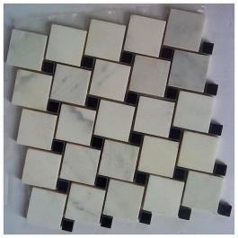 Arabescato Carrara Leaning 2x2 Polished Interlocking Blend