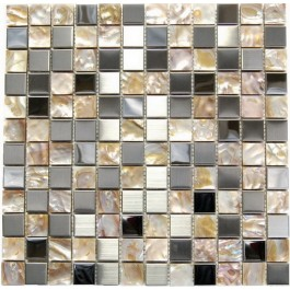 Stainless Steel and Shell 1x1 Mix Mosaic