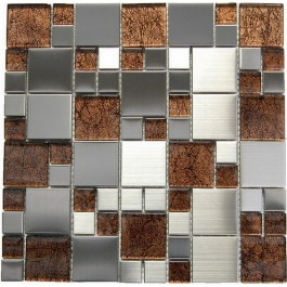 Magic Steel and Brown Glass 12x12 Mosaic