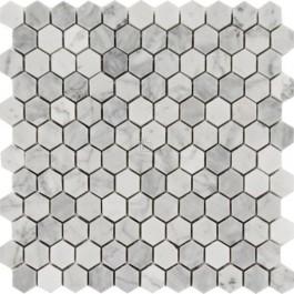 Carrara White 1x1Hexagon Polished Mosaic
