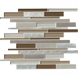 Madison Avenue Interlocking Pattern Glass Metal Mosaic