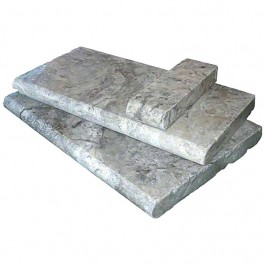 Silver Travertine 4X12 Hon / UF / Tumbled / One Short Side Bull Nose