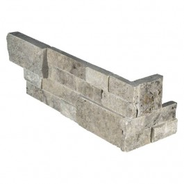 Silver Travertine 6X18X6 Split Face Corner Ledger Panel