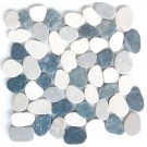 White & Grey Mix Natural 12X12 Interlocking Indonesia Pebble Tile