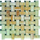 Yellow Onyx Basket Weave Green Dot Interlocking 12x12 Polished